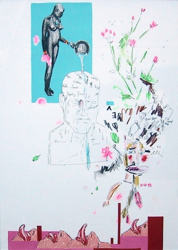 LENNON JNO-BAPTISTE DRAWINGS Acrylic, graphite, colored pencil, pastel, ink and tape on paper