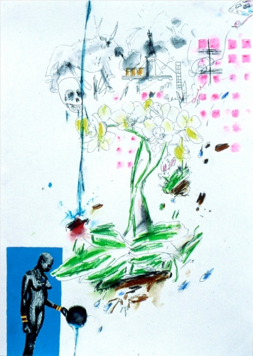 LENNON JNO-BAPTISTE DRAWINGS Acrylic, graphite, colored pencil and ink on paper