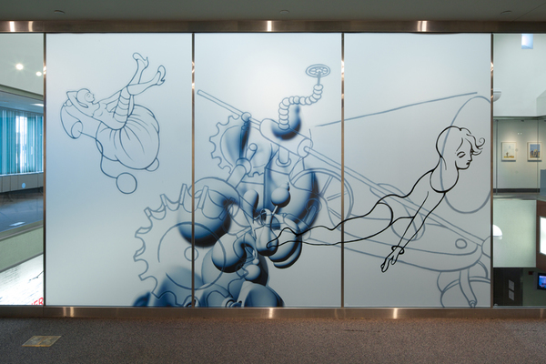 Leona Christie wall drawings / installations Vinyl adhesive graphics on glass wall