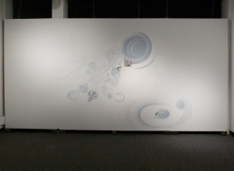 Leona Christie wall drawings / installations Latex paint, mylar, ink, paper, pins