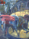 COLLECTIVE CONSCIOUSNESS;            Carnivale / Restaurant  pastel, acrylic on velvet paper
