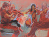 ORCHESTRA and MUSICIANS pastel on paper