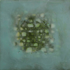 Fathom pigmented beeswax with paper on panel