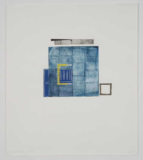 Leslie Kerby Containments Series Collage with linocut and etching