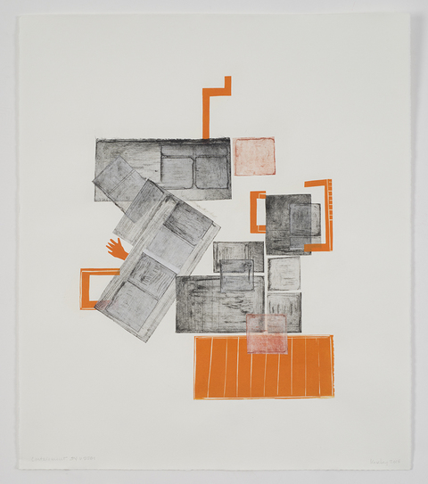 Leslie Kerby Containments Series Works on Paper Collage with linocut and etching
