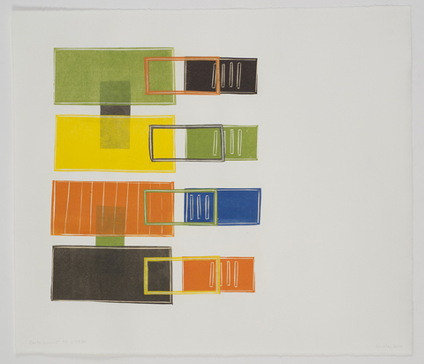 Leslie Kerby Containments Series Collage with linocut
