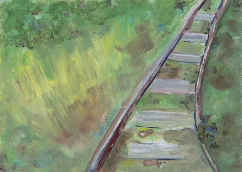 Leslie Kerby Peanuts on the Tracks Oil on linen panel
