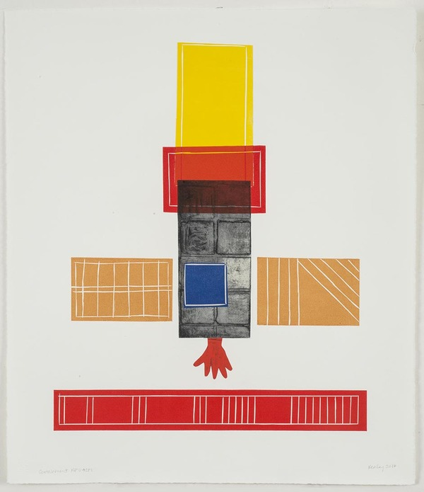 Leslie Kerby (NEW) Containments Series 2 Monotype with Linocut, Etching and Chine Colle