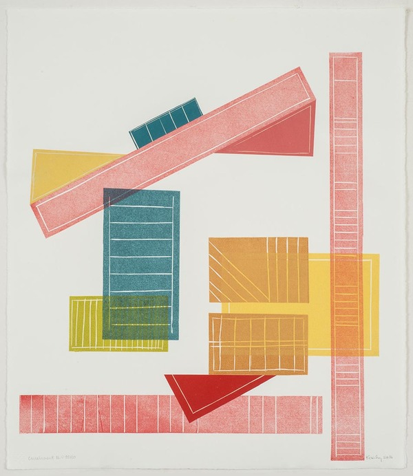 Leslie Kerby (NEW) Containments Series 2 Monotype with Linocut and Chine Colle