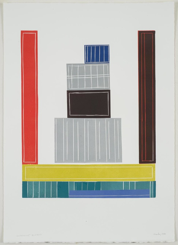 Leslie Kerby (NEW) Containments Works on Paper Monotype with Linocut and Chine cole