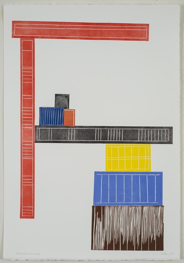 Leslie Kerby (NEW) Containments Works on Paper Monotype with Linocut and Chine Colle