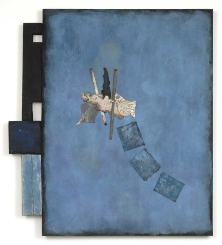 Leslie Shaw Zadoian Constructed Space Acrylic, pastel, pencil, paper, metal and wood on canvas