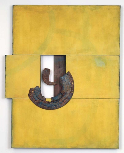 Leslie Shaw Zadoian Constructed Space Acrylic, oil pastel, pastel, metal and wood on canvas