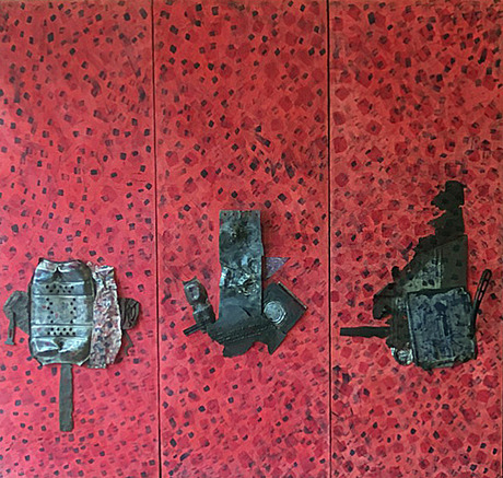 Leslie Shaw Zadoian Time and Place Acrylic, pencil, pastel, oil pastel and metal on canvas