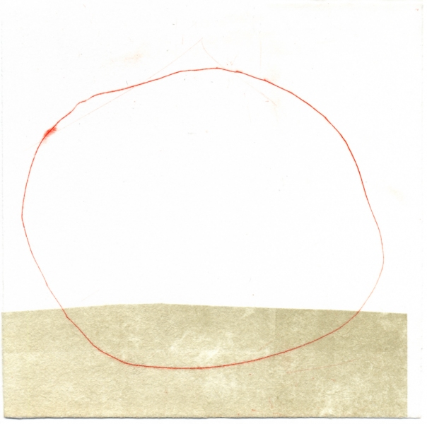 works on paper Red Circle on Horizon