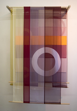 Linda Kamille Schmidt Fabric pieces silk & polyester fabrics, pins, dowels, paper, metal support
