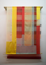 Linda Kamille Schmidt Fabric pieces hand and machine stitched fabric panels hung on dowels and wooden support