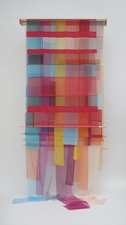 Linda Kamille Schmidt Fabric pieces fabric, wooden dowels, Lucite, wooden support