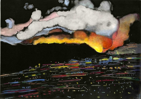Linda Lyke L.A. Fires Oil on Paper