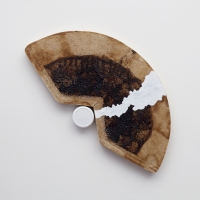 Linda Stillman Mixed media Coffee filter on panel with acrylic and plastic cap