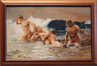 Frank Lind Nudes: Homage to Homer Oil on canvas