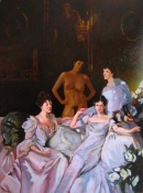 Frank Lind Nudes: Homage to Sargent Oil on canvas