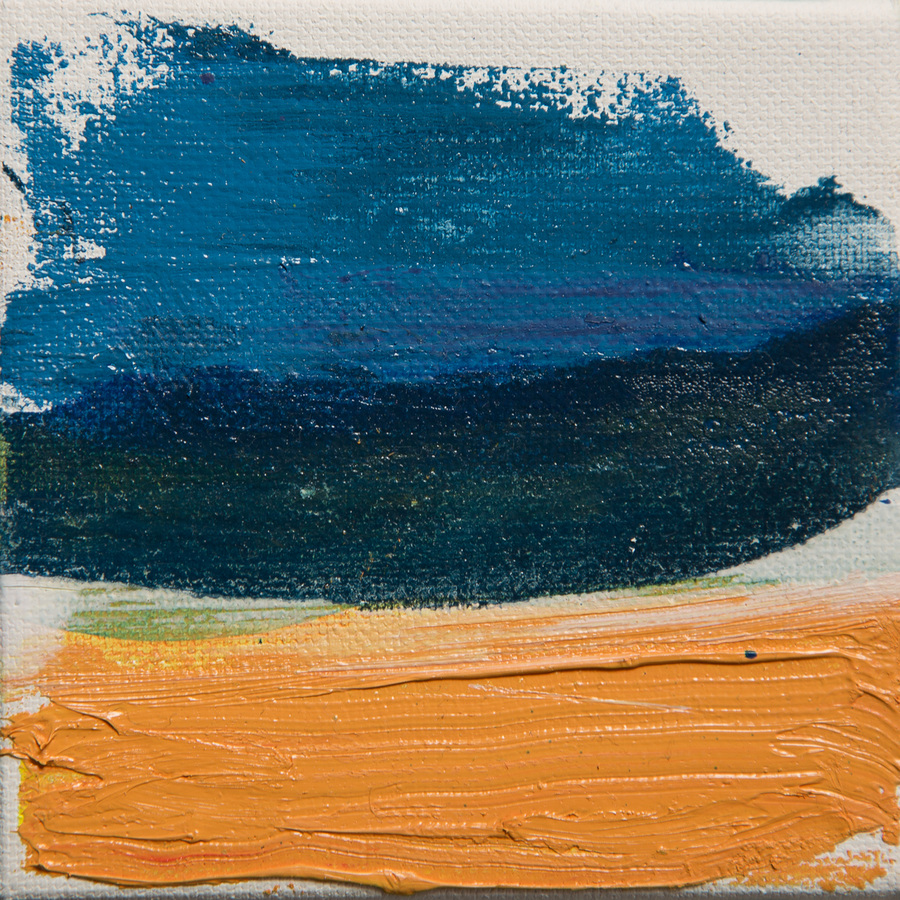 Tiny Paintings Tiny Painting  #13 (blue swoop)