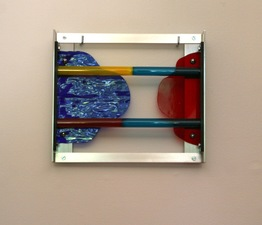 Lisa E. Nanni Metal, Glass, Acrylic anodized aluminum, spliced colored glass tubing, art glass