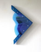 Lisa E. Nanni Metal, Glass, Acrylic blue anodized aluminum, art glass, acrylic
