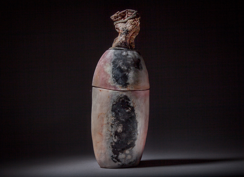 Raku, Pit Fire and Luster ware Tall lidded pit fired jar