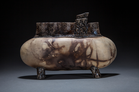 Raku, Pit Fire and Luster ware Gold submarine