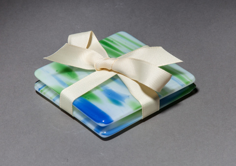 "Glass Ware Blue green and white ""water"" glass coasters, set of 2"