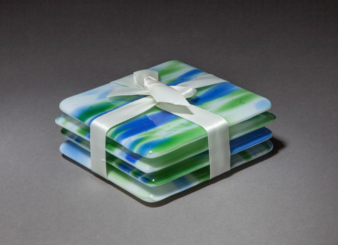 "Glass Ware Blue green and white ""water"" glass coasters, set of 4"