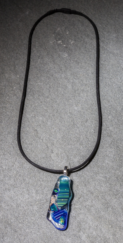 "Glass Wear Handmade Blue and Green Fused Dichroic Glass Long ""Mosaic"" Pendant Necklace on silver plate bail, hand-cut, kiln-fired, 1 in stock"