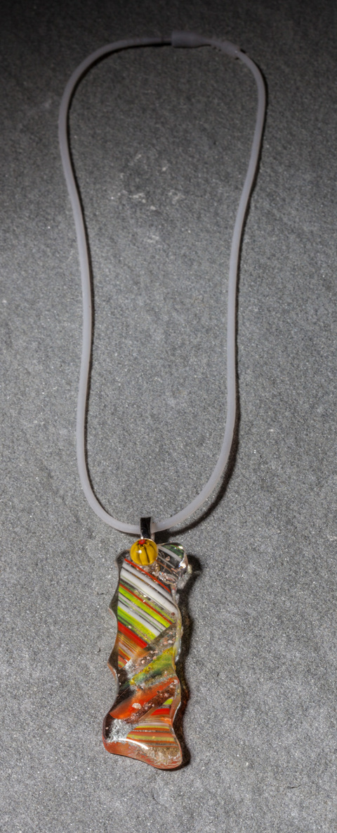 "Glass Wear Handmade Orange and Yellow Fused Dichroic and Mille Fiori Glass ""Rectangle 2"" Pendant on silver plate bail, hand-cut, kiln-fired, 1 in stock"