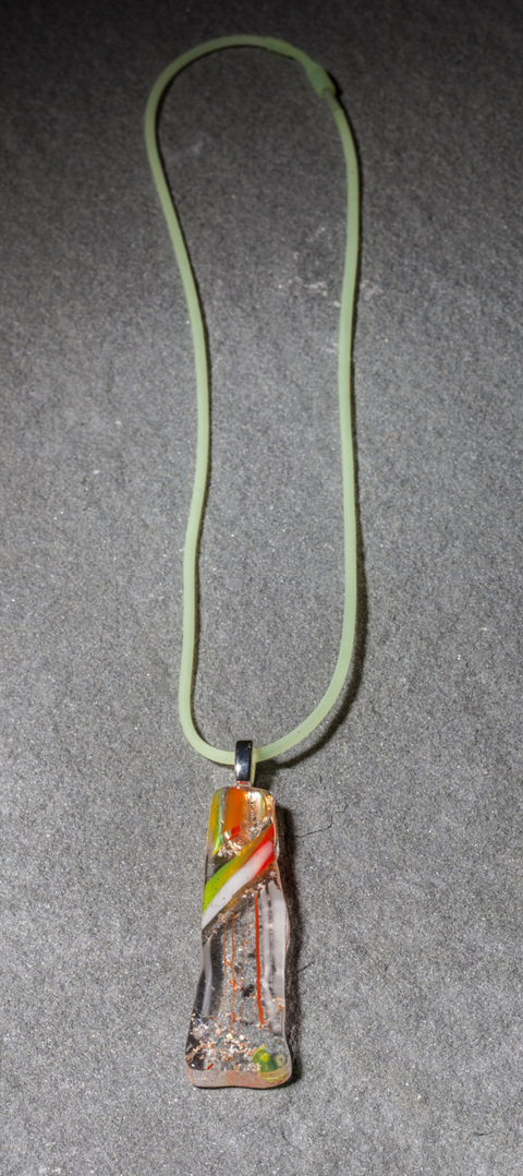 "Glass Wear Handmade Orange and Yellow Striped Fused Dichroic Glass ""Rectangle 6"" Pendant on silver plate bail, hand-cut, kiln-fired"