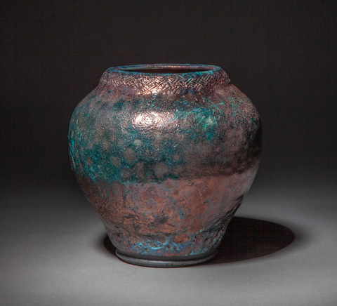 Raku, Pit Fire and Luster ware Basket textured copper blue and red vessel