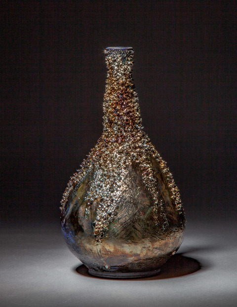 Raku, Pit Fire and Luster ware Navy, Gold, silver reef bottle