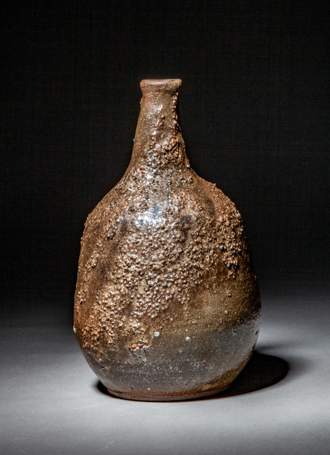 Raku, Pit Fire and Luster ware Reef Bottle, view #2