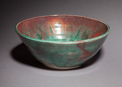 Raku, Pit Fire and Luster ware Copper green and red luster bowl, large and wide