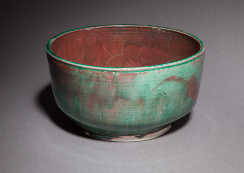 Raku, Pit Fire and Luster ware Copper green and red luster bowl, large