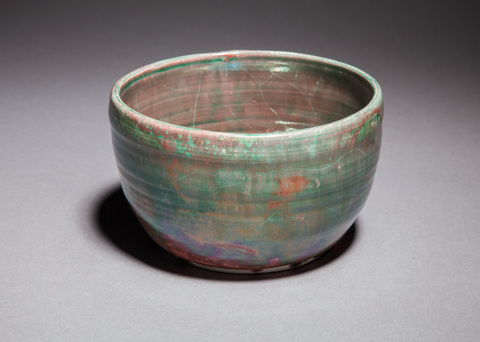 Raku, Pit Fire and Luster ware Copper green and red luster bowl, small