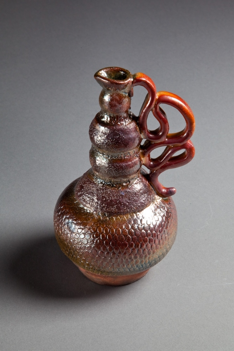 Raku, Pit Fire and Luster ware Snake Bottle