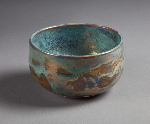 Raku, Pit Fire and Luster ware Tiffany Blue and Gold bowl