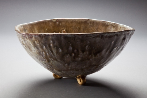 Raku and Luster ware Tartan Bowl