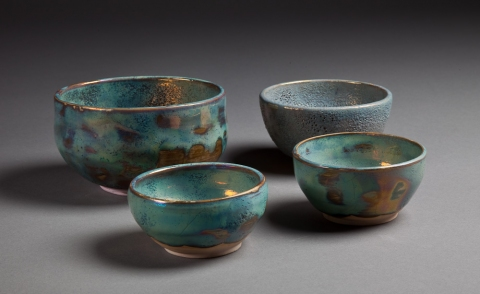 Raku, Pit Fire and Luster ware Assorted Tiffany and Powder Blue bowls