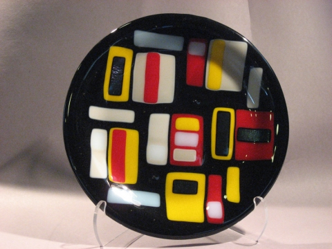 Glass Ware Black Retro Plate