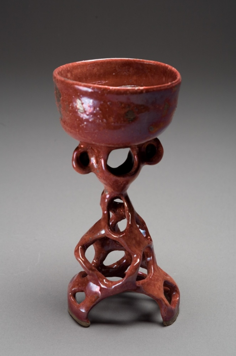 Raku and Luster ware Monkey Goblet