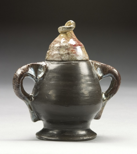 Raku, Pit Fire and Luster ware Super Gnome Sugar Bowl
