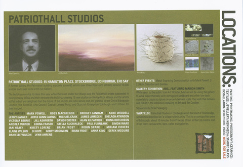 Patriot Hall, Edinburgh, 2005 Invitation to Open Studios, Patriot Hall Studios, Edinburgh Scotland